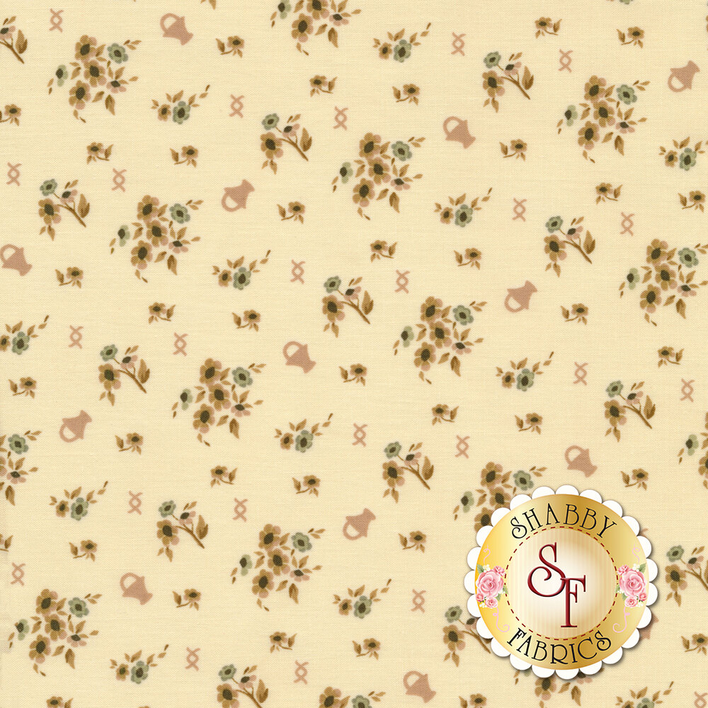 Tan/pink flowers and bouquets tossed on cream | Shabby Fabrics