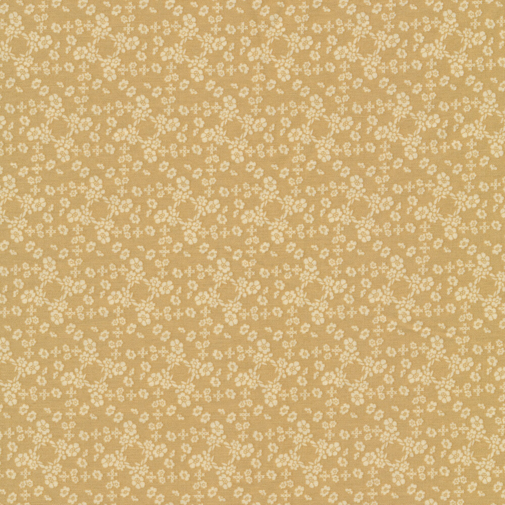 Tan flower design on muted green | Shabby Fabrics