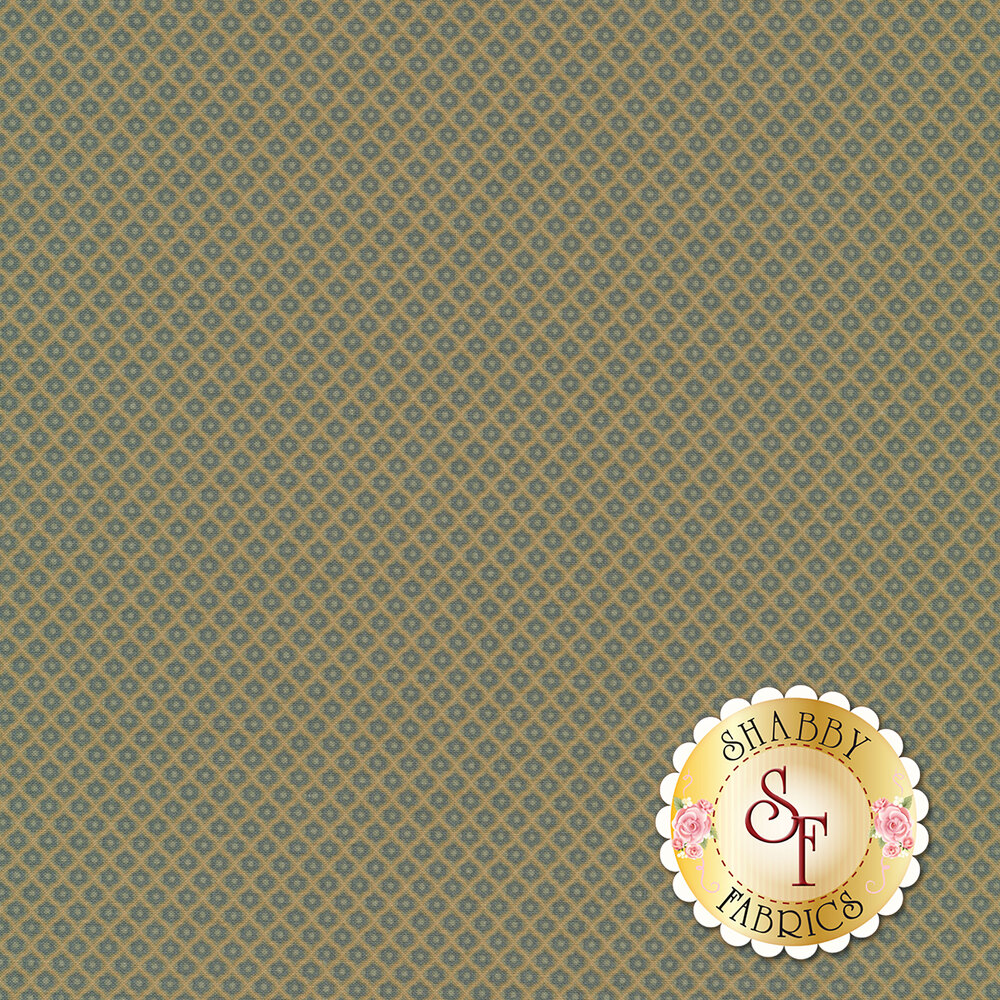 Small blue flowers in tan grid design | Shabby Fabrics