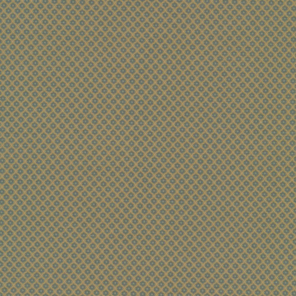 Small blue flowers in tan grid design | Shabby Fabrics