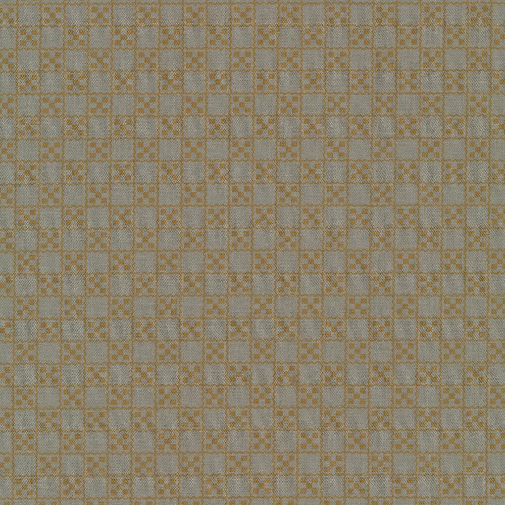 Tan squares in grid on dusty blue | Shabby Fabrics