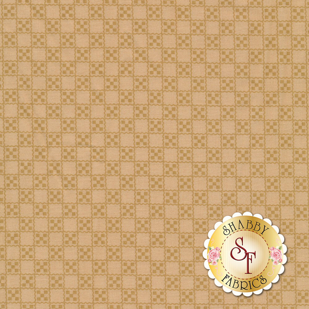 Tan squares in grid on pink | Shabby Fabrics