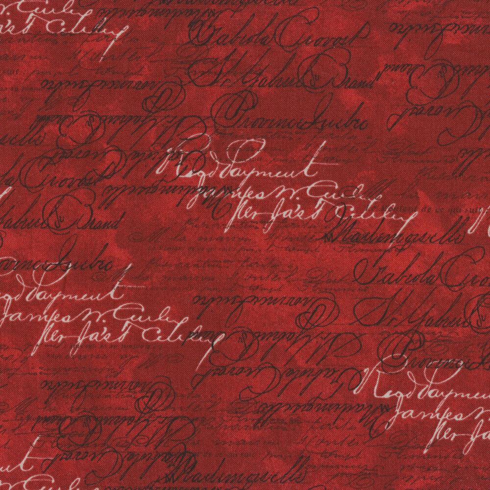 Black and white writing on red | Shabby Fabrics