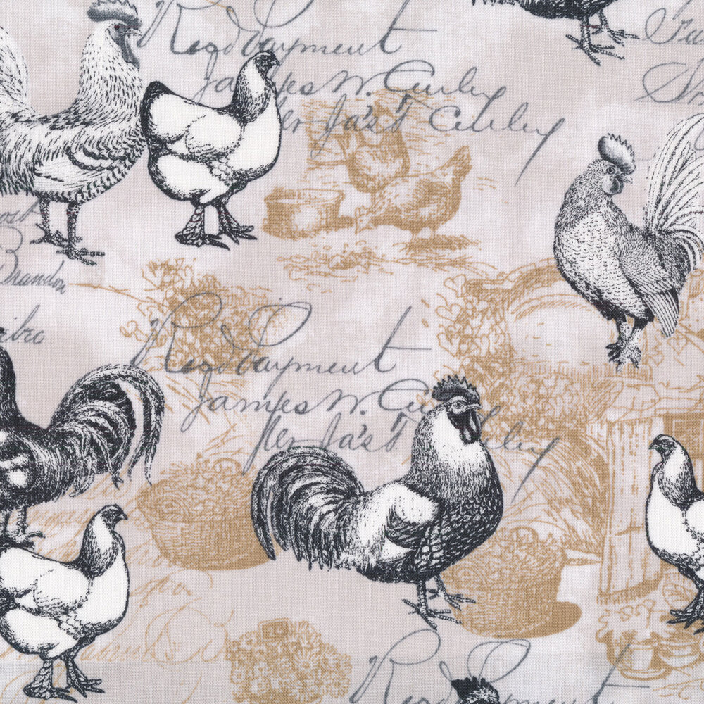 Black and white chickens on a tan tonal background with cursive | Shabby Fabrics
