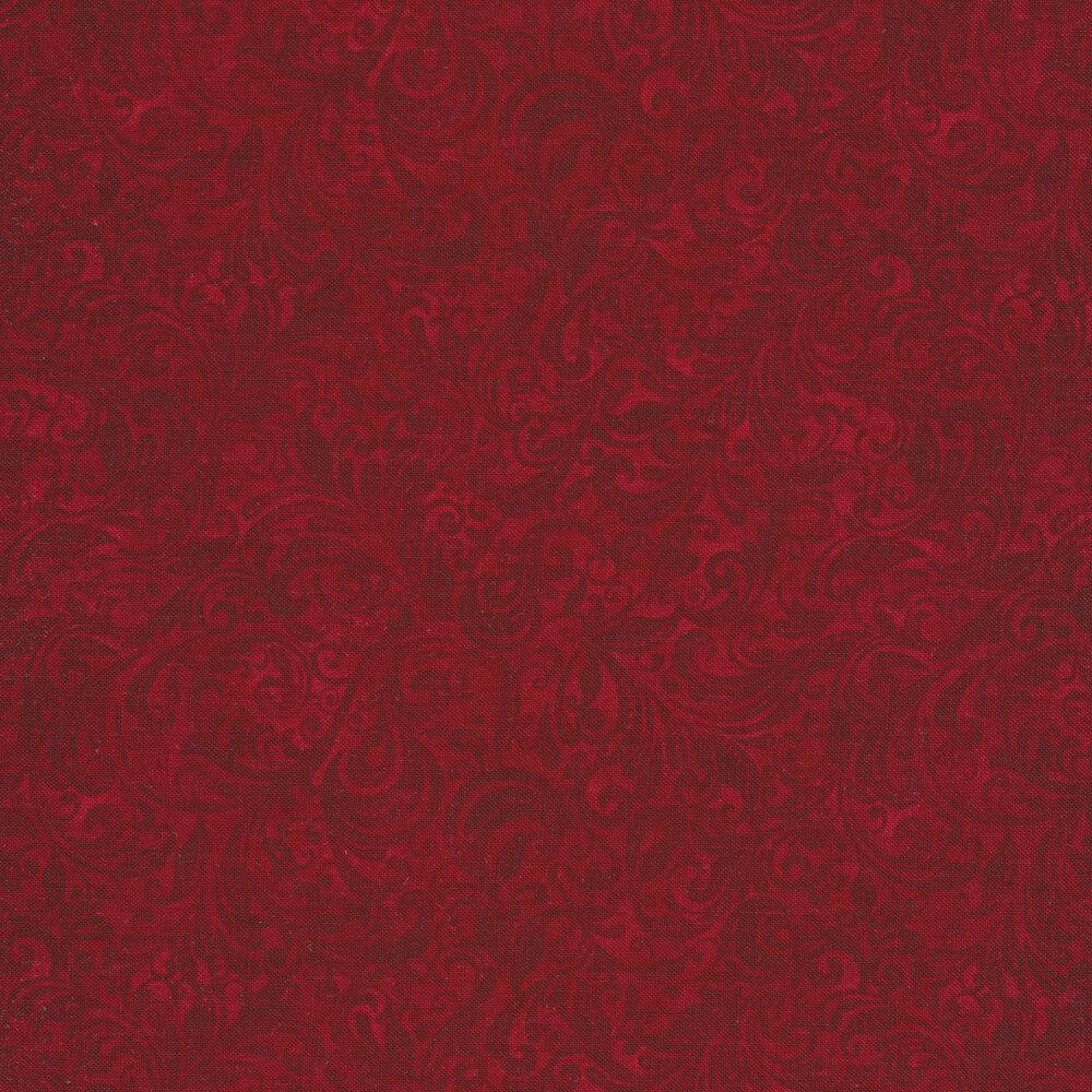 Red tonal scroll design | Shabby Fabrics