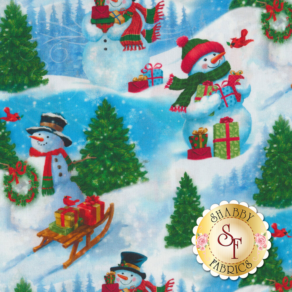 Friendly snowmen, trees, birds and sleds with gifts | Shabby Fabrics