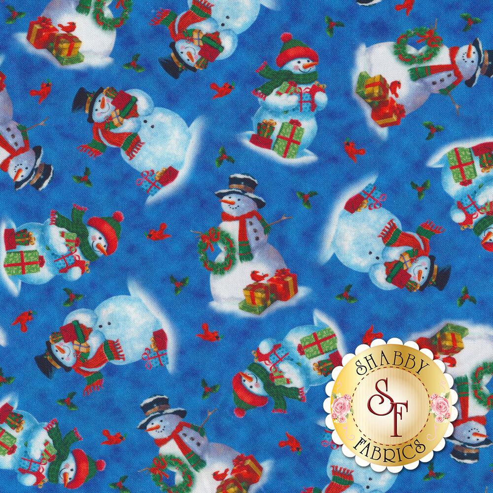 Friendly tossed snowmen on a dark blue mottled background | Shabby Fabrics