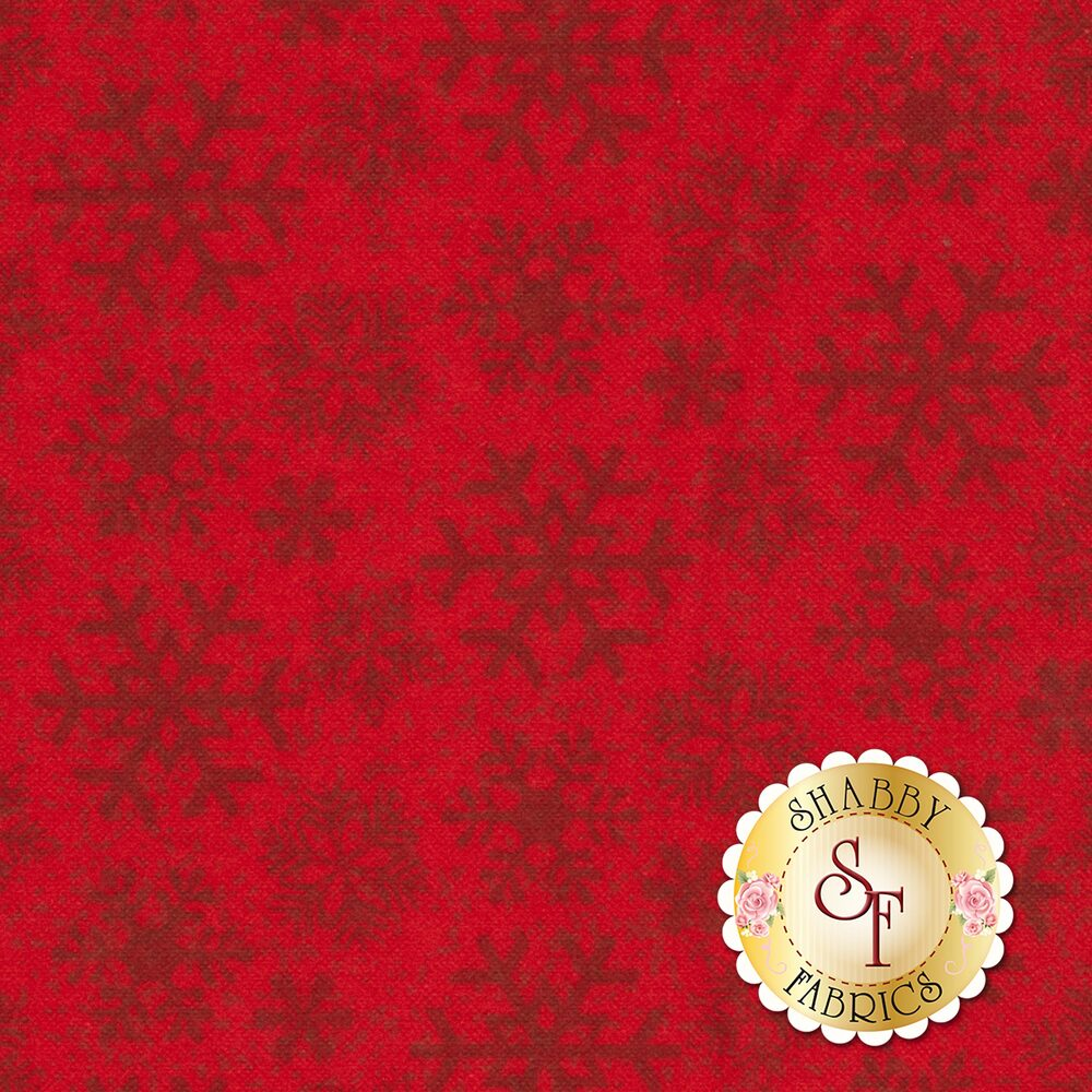 Frosty Friends Flannel F6979-88 Tonal Snowflake Red by Henry Glass Fabrics