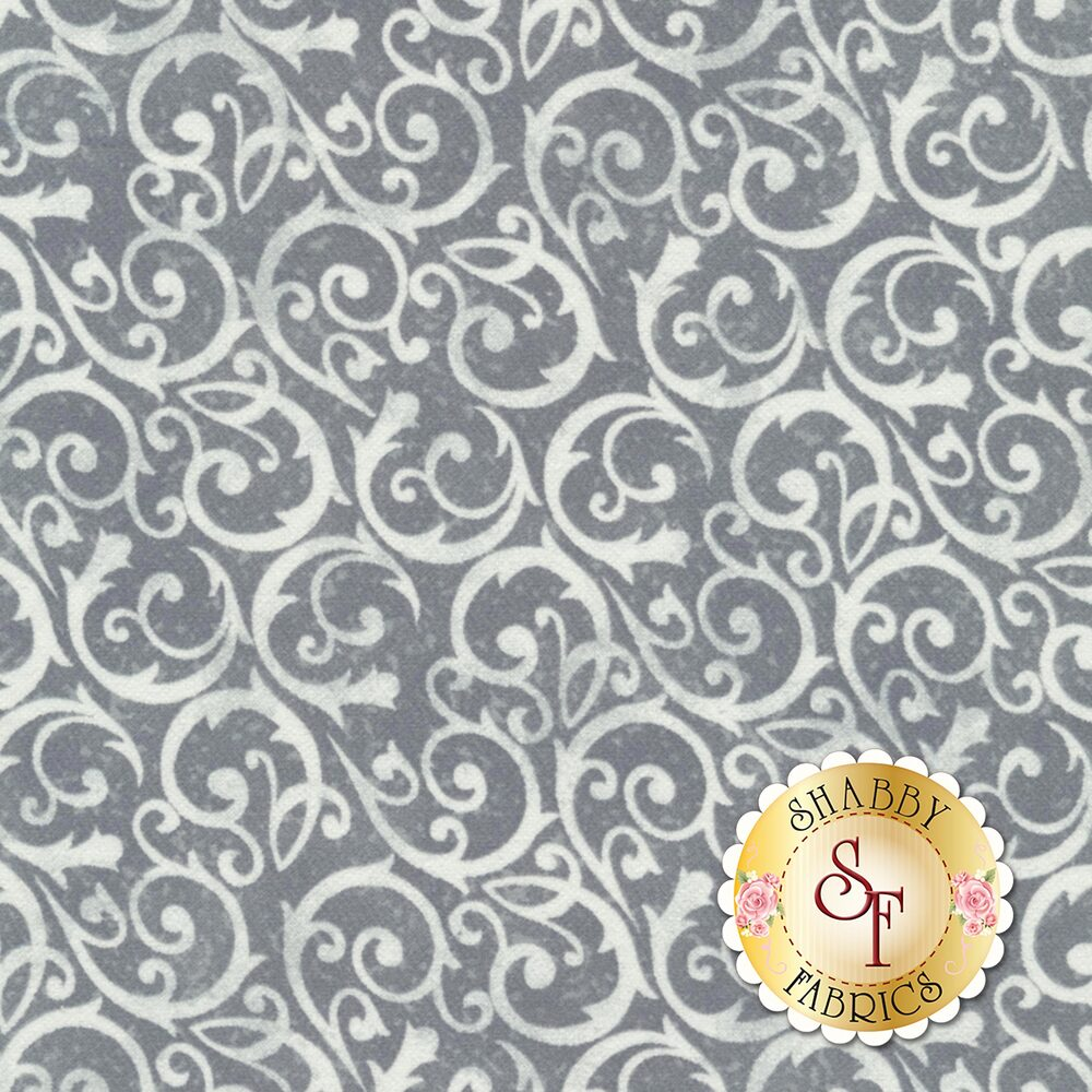 Frosty Friends Flannel F6981-90 Wintery Scroll Gray by Henry Glass Fabrics