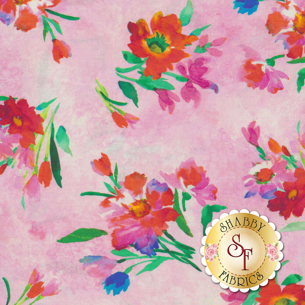 Full Bloom 27175-P Pink by Quilting Treasures Fabrics available at Shabby Fabrics