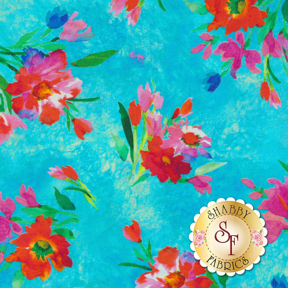 Full Bloom 27175-Q Turquoise by Quilting Treasures Fabrics available at Shabby Fabrics