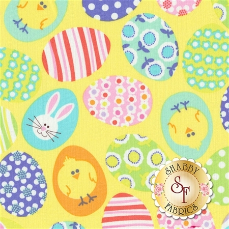 Funny Bunnies 8541-03 Decorated Yellow Eggs by Kanvas Studio for Benartex Fabrics