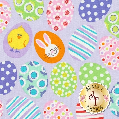Funny Bunnies 8541-06 Decorated Lavender Eggs by Kanvas Studio for Benartex Fabrics