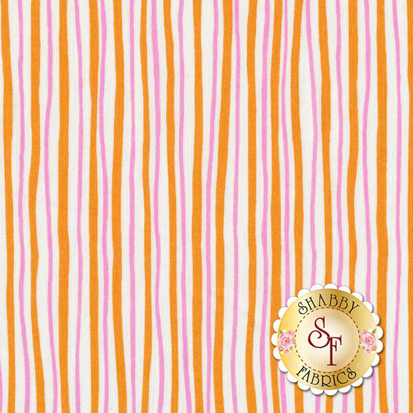 Funny Bunnies 8543-22 Wavy Stripe Orange/Pink by Kanvas Studio for Benartex Fabrics
