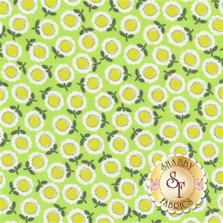 Funny Bunnies 8544-44 Cozy Posie Lime by Kanvas Studio for Benartex Fabrics