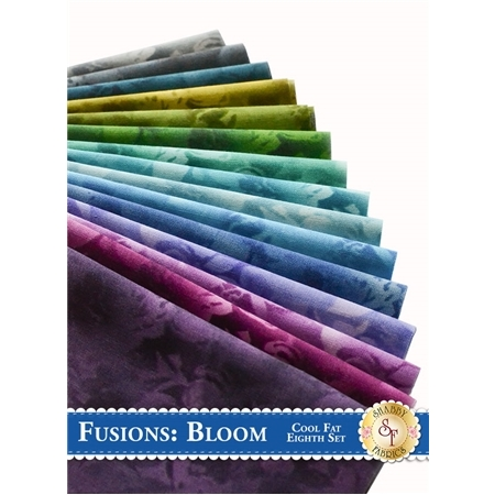 Fusions Bloom  15 Fat Eighth Set - Cool Set by Robert Kaufman Fabrics