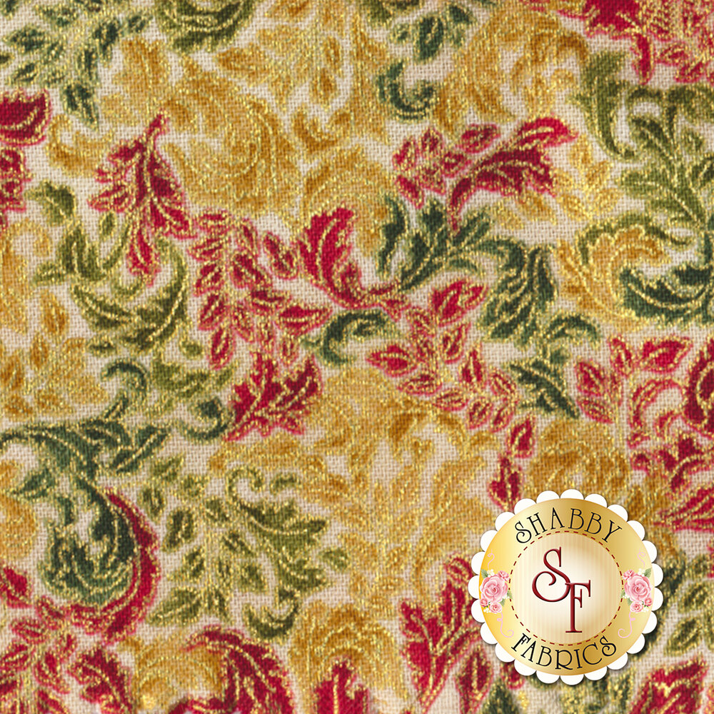 Red green and gold scroll on tan | Shabby Fabrics