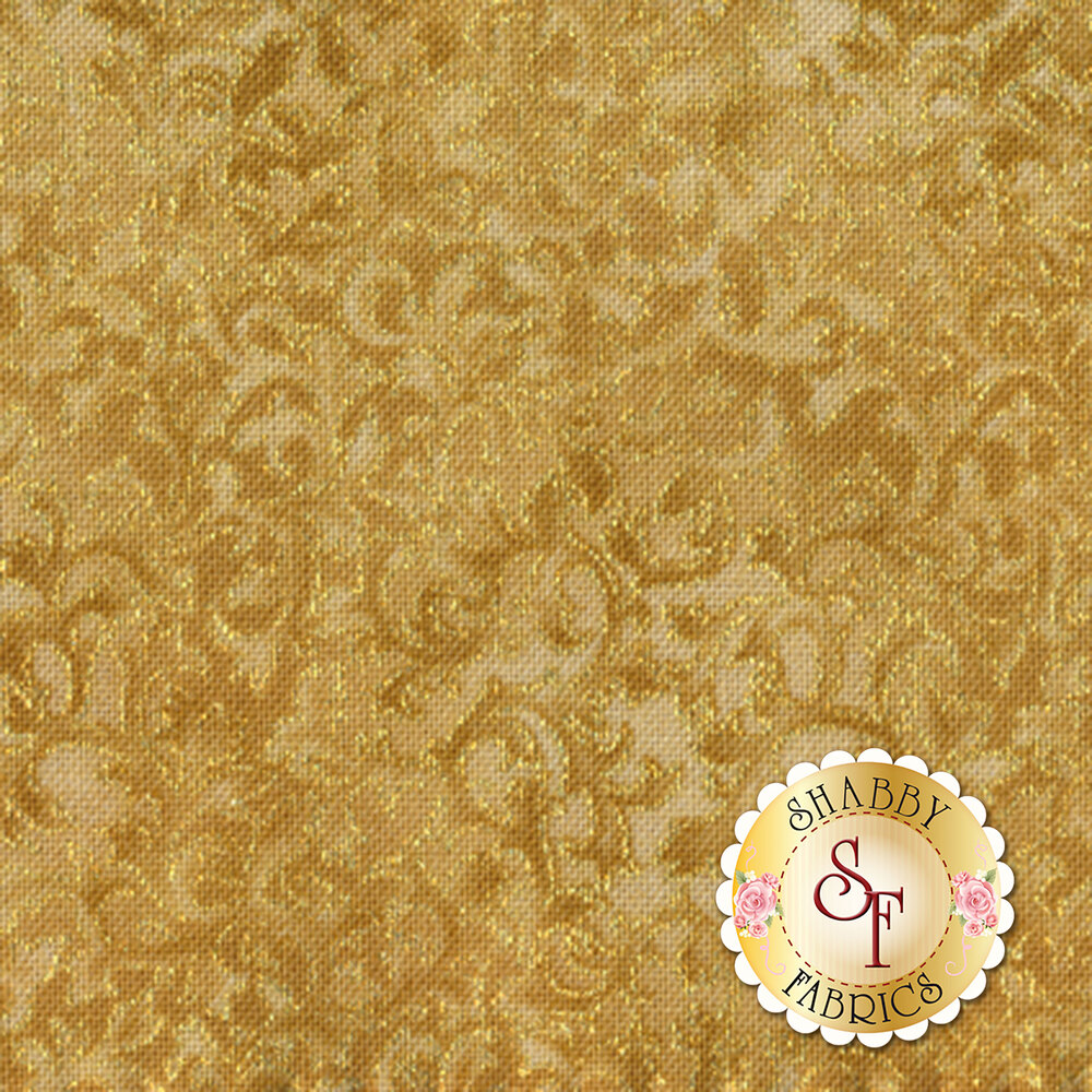 Tonal gold scroll with metallic gold accents | Shabby Fabrics