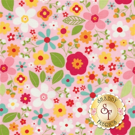 Garden Girl C5662-PINK Floral Pink by Zoe Pearn for Riley Blake Designs
