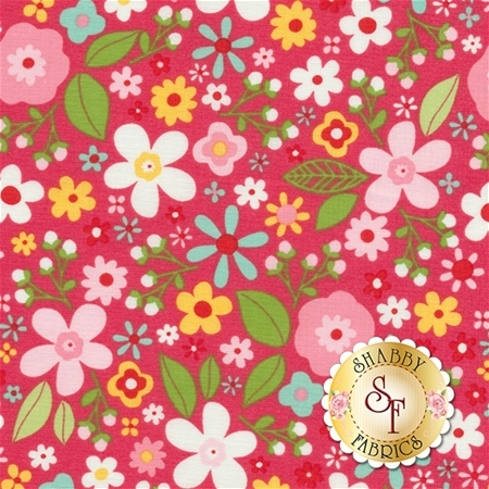 Garden Girl C5662-RASPBERRY Floral Raspberry by Zoe Pearn for Riley Blake Designs