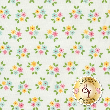 Garden Girl C5664-WHITE Posies White by Zoe Pearn for Riley Blake Designs
