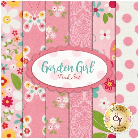 Garden Girl 6 FQ Set - Pink Set by Zoe Pearn for Riley Blake Designs
