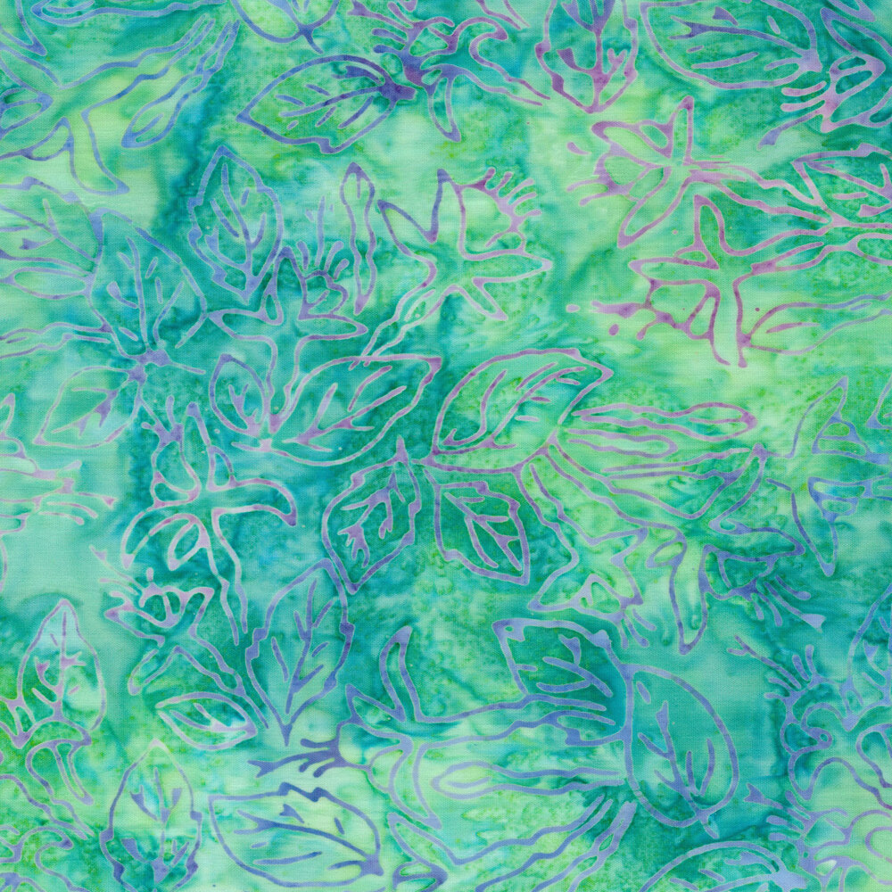 Teal and aqua mottled batik with leaves and vines   Shabby Fabrics