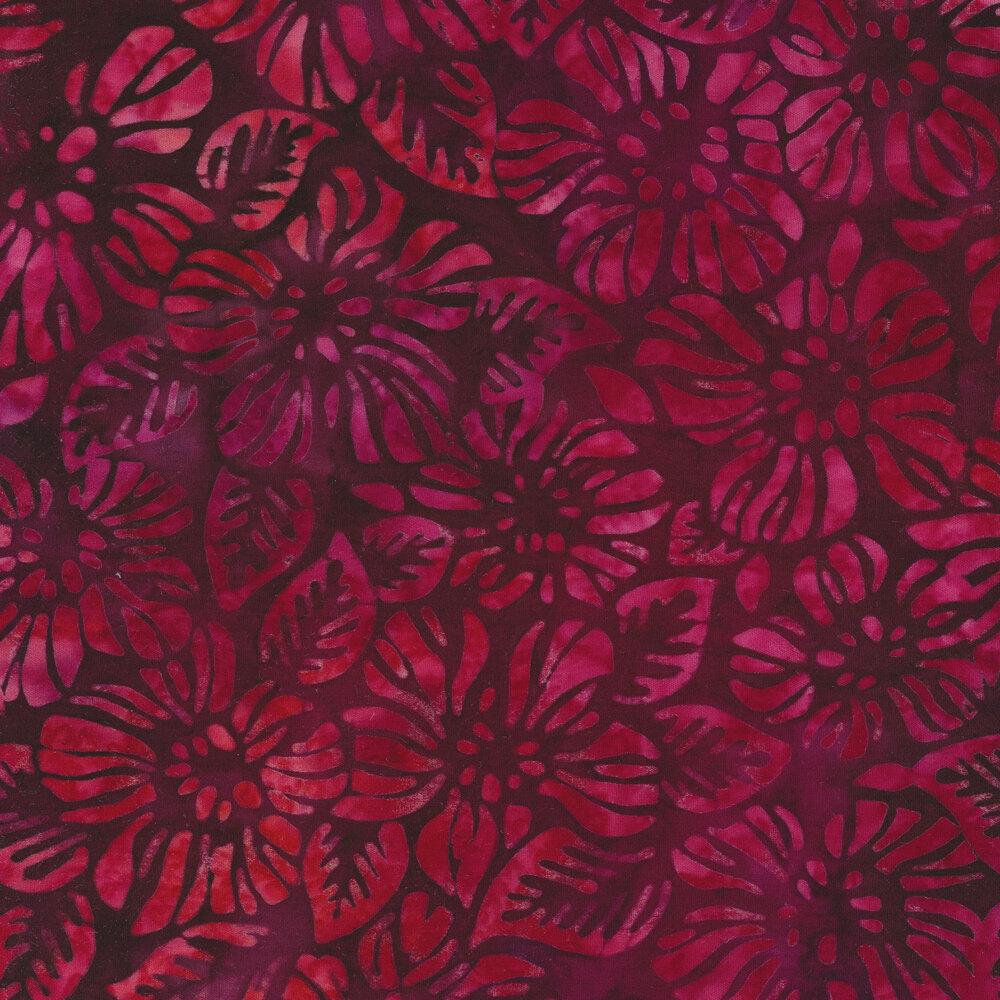 Bright red flowers on a marbled dark red background | Shabby Fabrics