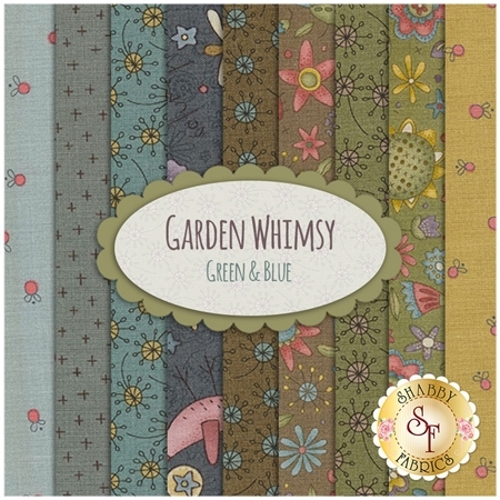 Garden Whimsy  9 FQ Set - Green & Blue Set by Anni Downs for Henry Glass Fabrics