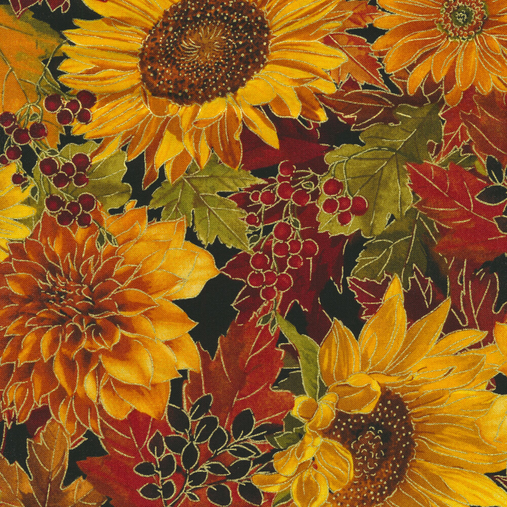 Cluster of sunflowers and fall florals on black | Shabby Fabrics