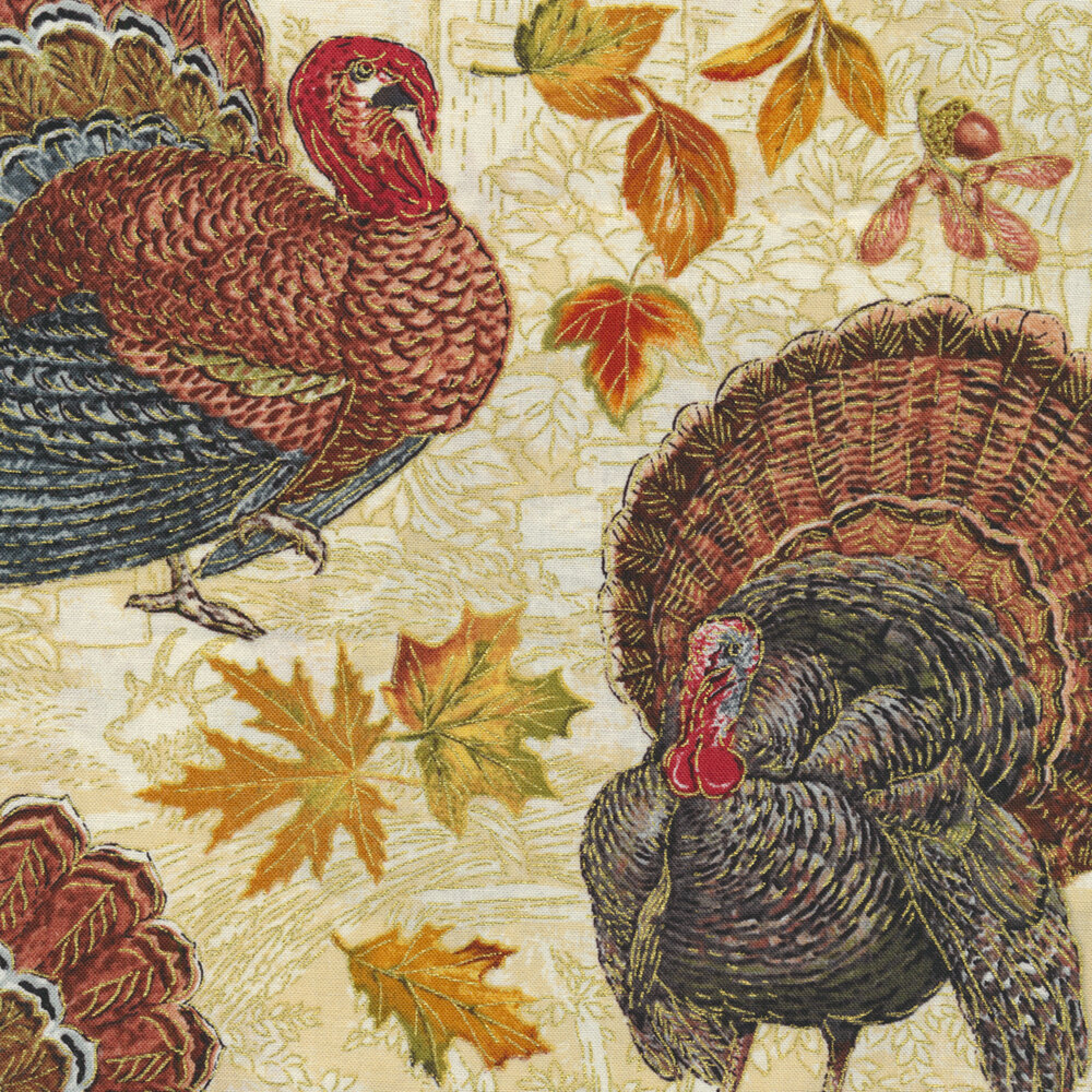 Turkeys all over a distressed cream background | Shabby Fabrics
