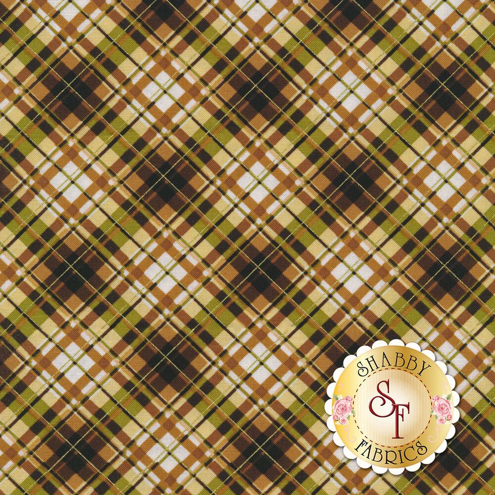 Tan and brown plaid fabric | Shabby Fabrics