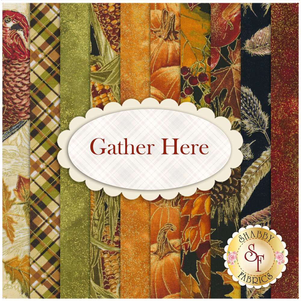 A collage of the 10 fabrics included in the Gather Here collection | Shabby Fabrics