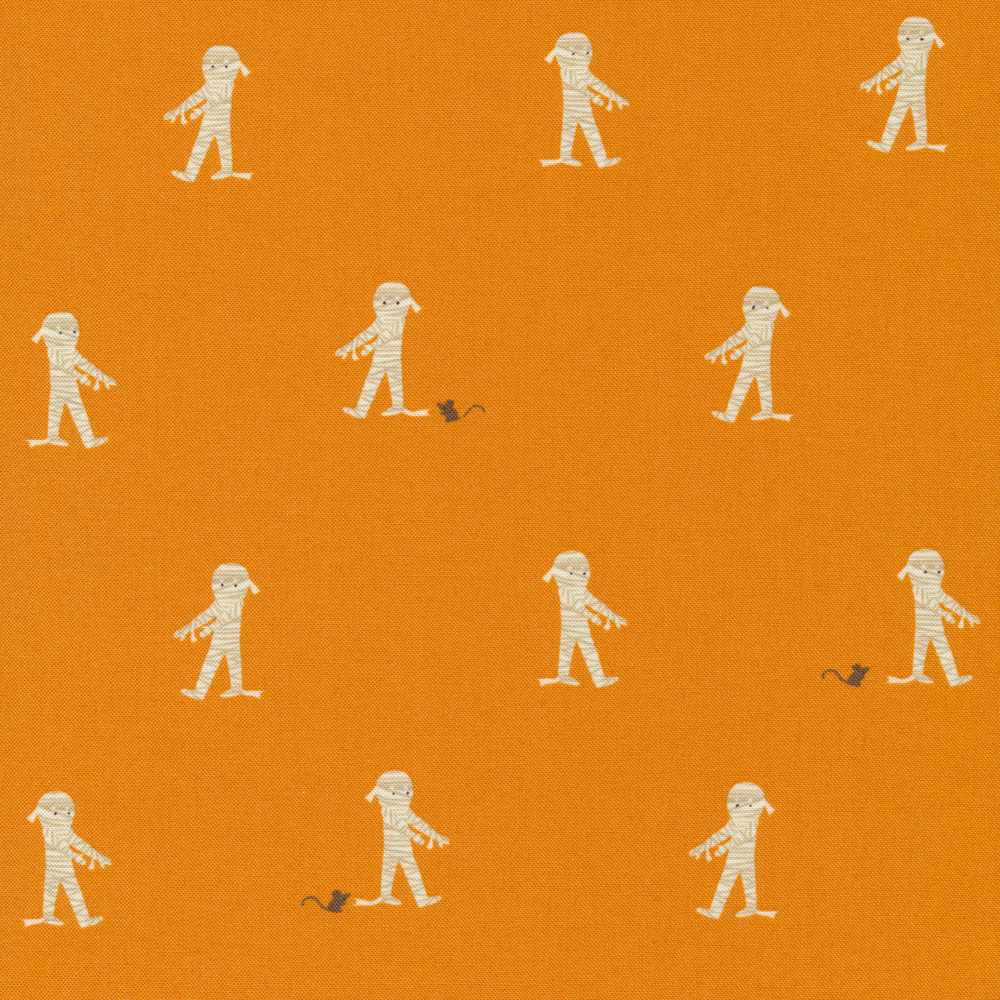 Adorable mummies with small rats on an orange background | Shabby Fabrics