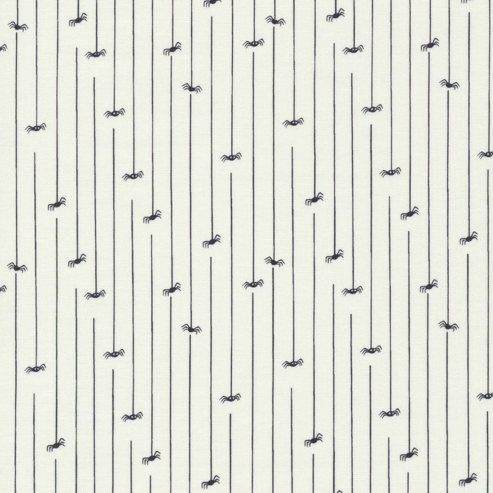 Spiders hanging from webs on a white background | Shabby Fabrics