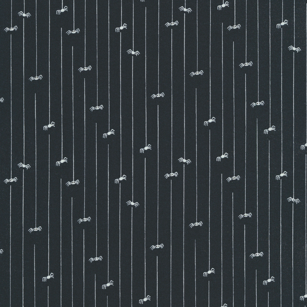 Spiders hanging from webs on a black background | Shabby Fabrics