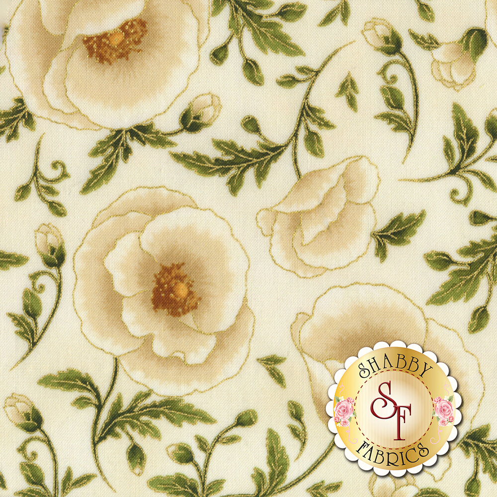 Cream flowers with gold metallic on cream | Shabby Fabrics