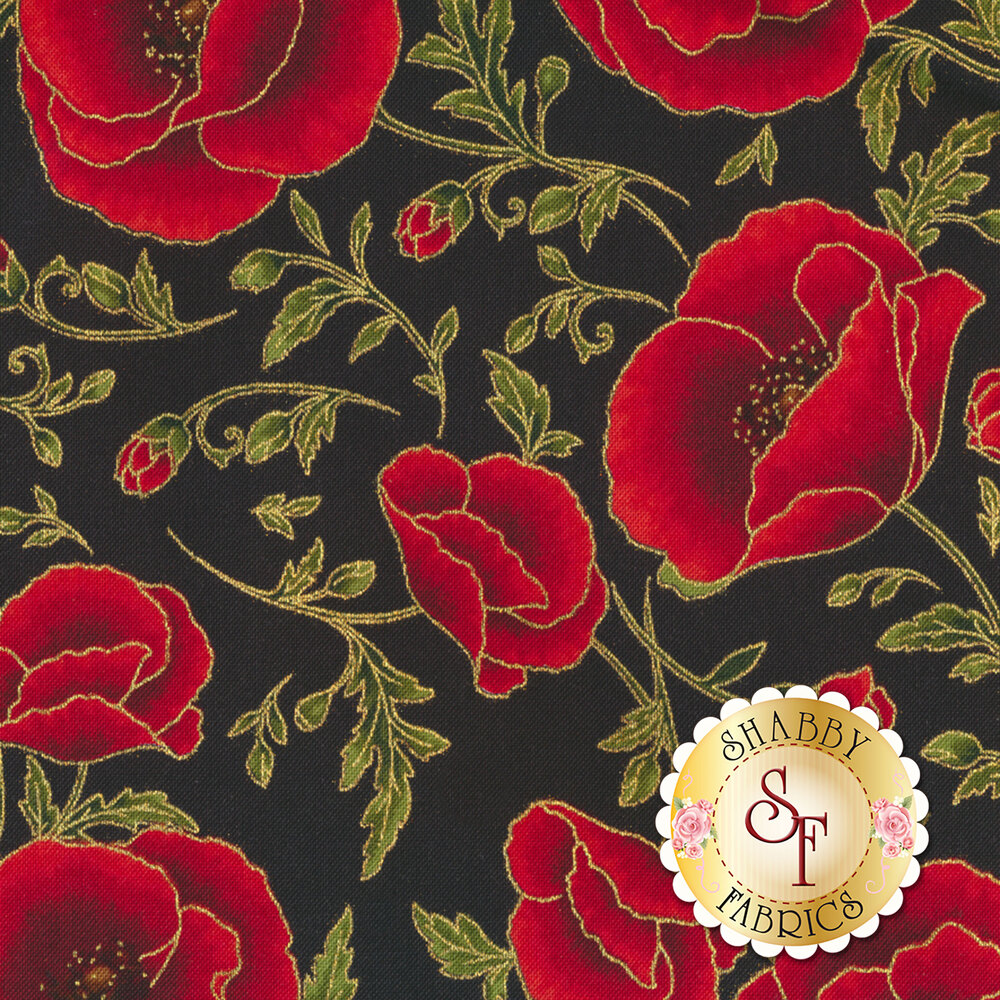Red flowers with gold metallic on black   Shabby Fabrics