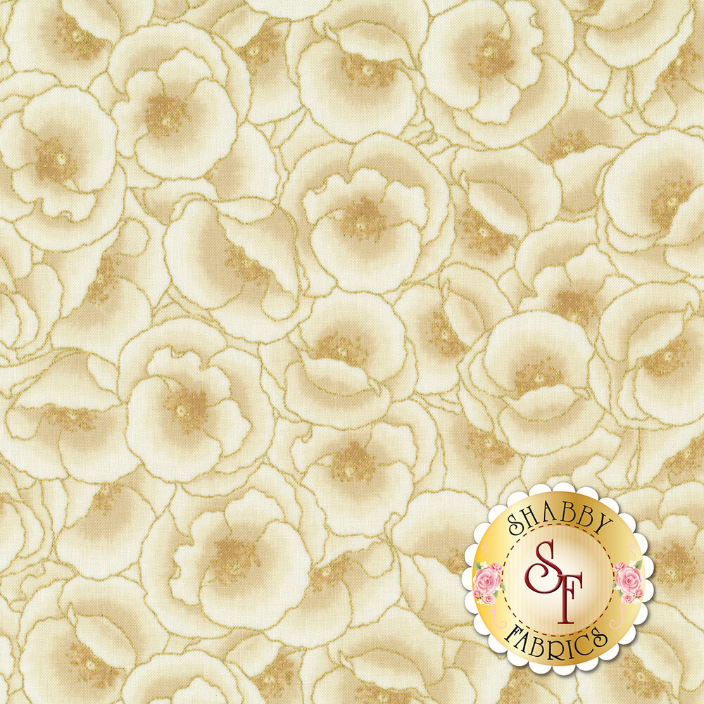 Tonal cream flowers with gold metallic accents | Shabby Fabrics