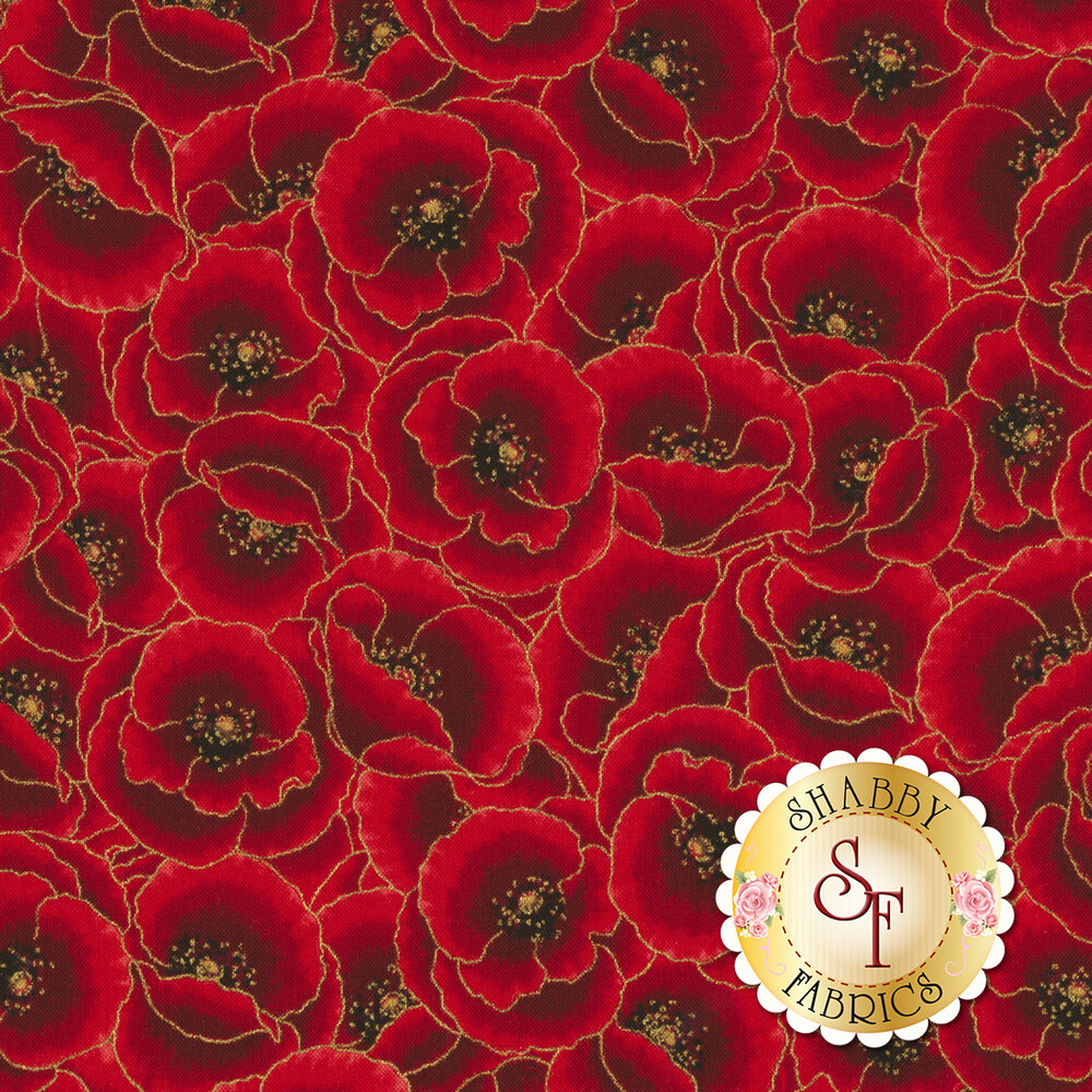 Red flowers with gold metallic accents | Shabby Fabrics