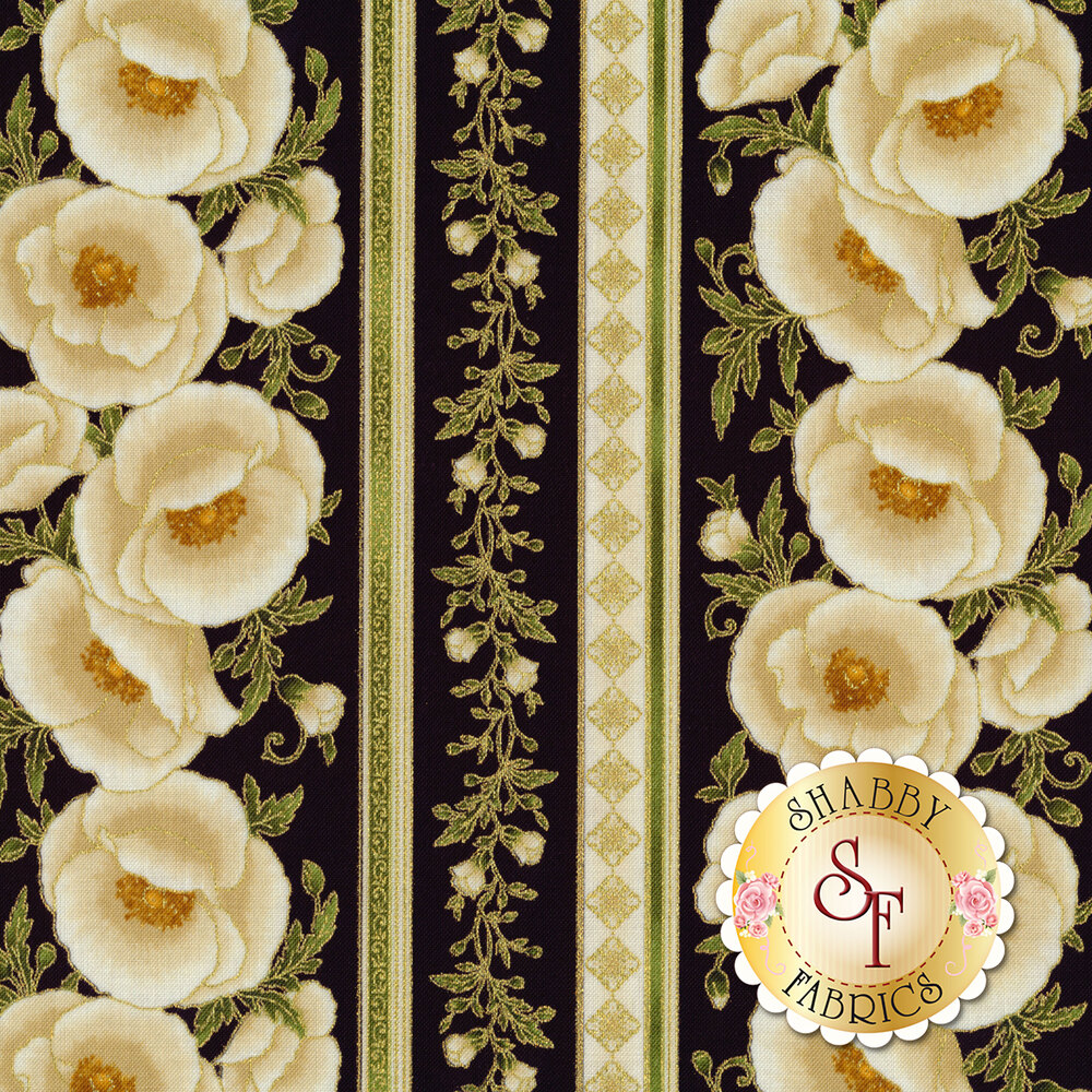 Cream floral stripe with gold metallic accents on black | Shabby Fabrics