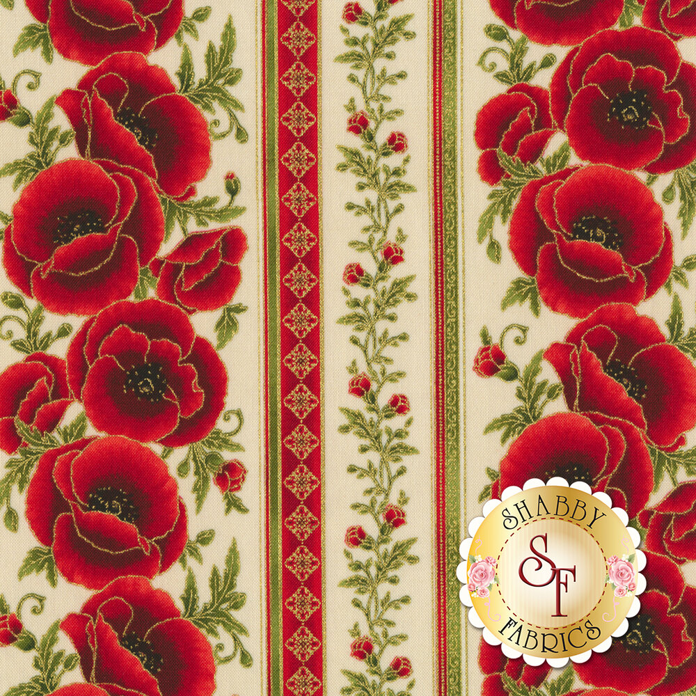 Red floral stripe with gold metallic accents on cream | Shabby Fabrics
