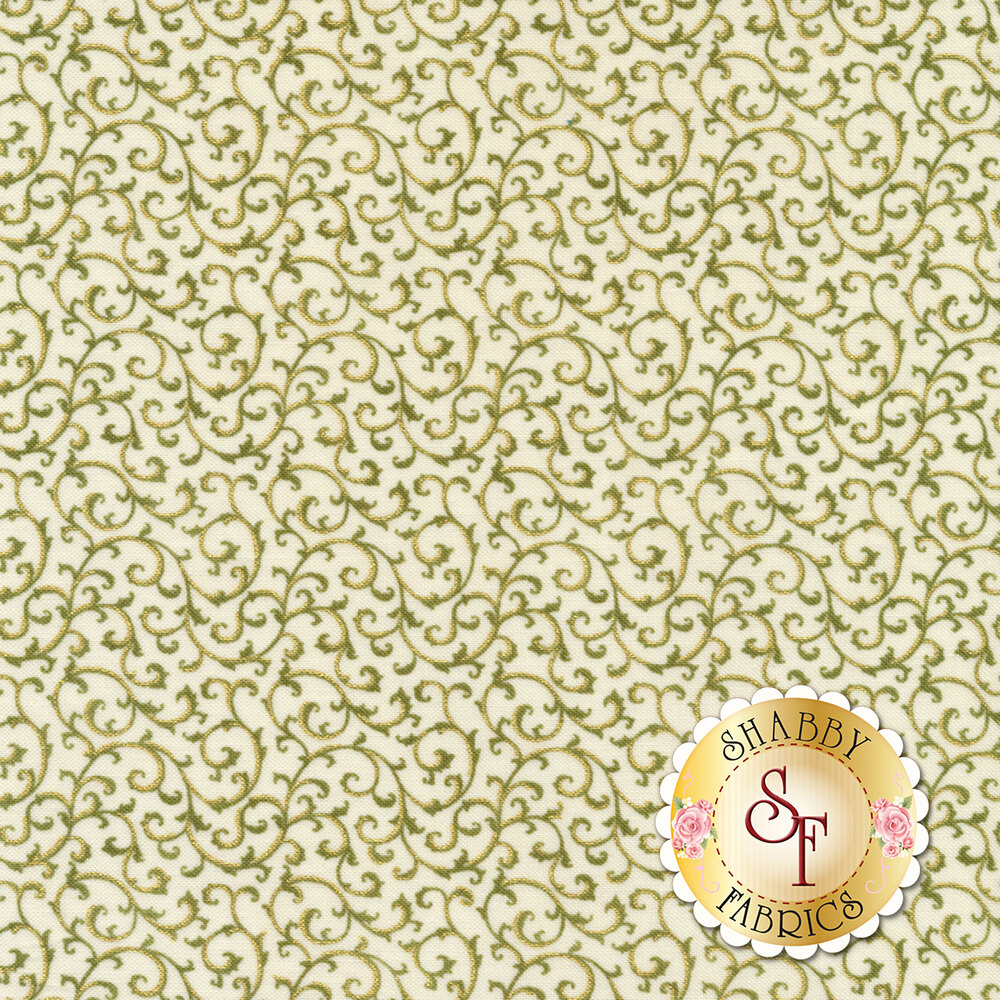 Green vines with gold metallic accents all over cream | Shabby Fabrics