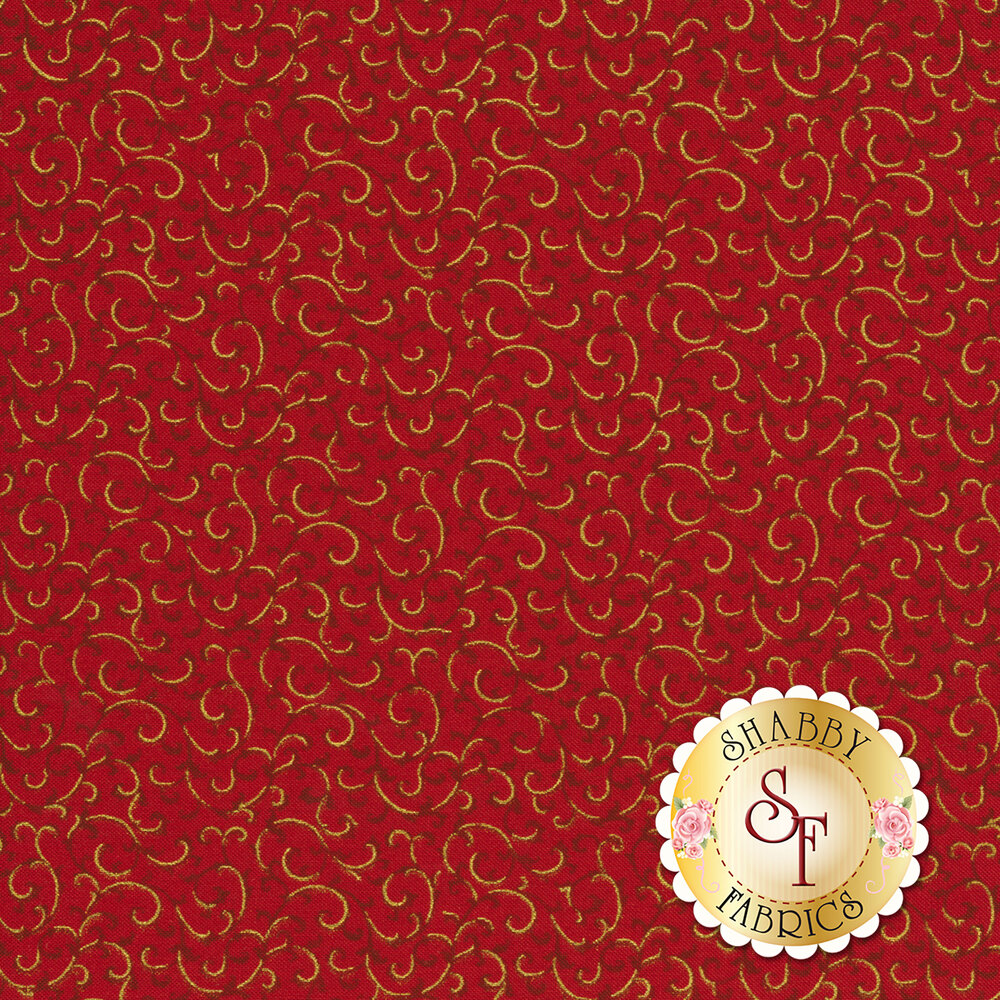 Red scrolls with gold metallic accents all over red | Shabby Fabrics