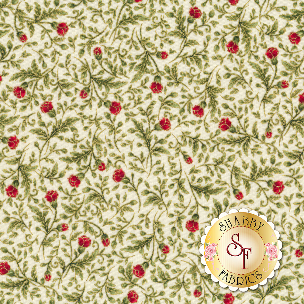 Roses on vines with gold metallic accents on cream | Shabby Fabrics