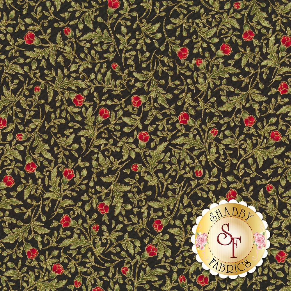 Red roses on green vines | Shabby Fabrics