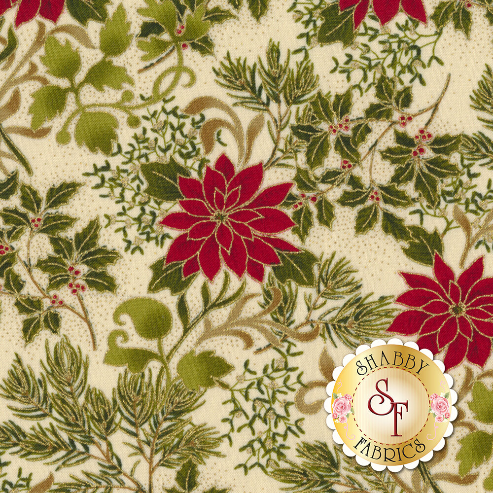 Gilded Greenery 33332-11M Cream by Moda Fabrics