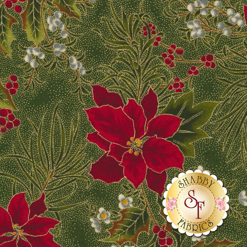 Gilded Greenery 33334-14M Evergreen by Moda Fabrics