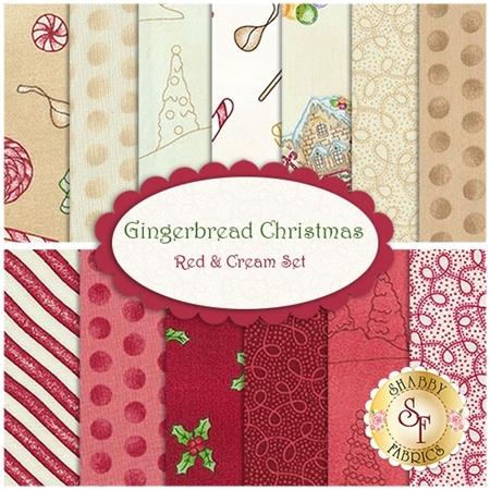 Gingerbread Christmas  13 FQ Set - Red & Cream Set by Meg Hawkey for Maywood Studio