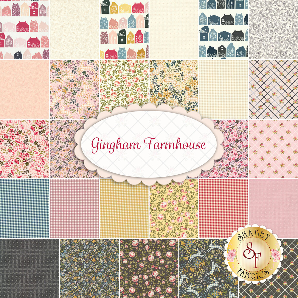 A collage of the fabrics included in the Gingham Farmhouse collection | Shabby Fabrics